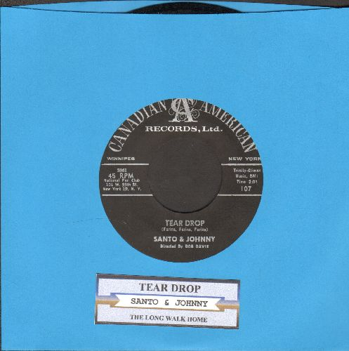 Santo & Johnny - Tear Drop/The Long Walk Home (NICE condition with juke box label) - NM9/ - 45 rpm Records