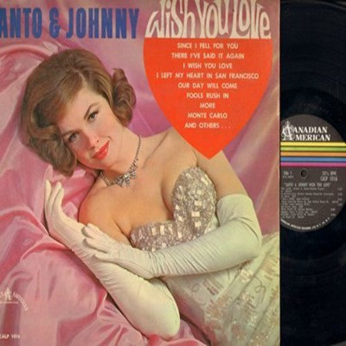 Santo & Johnny - Santo & Johnny Wish You Love: Since I Fell For You, Our Day Will Come, Fools Rush In, More, San Francisco (Vinyl MONO LP record, DJ advance copy) - EX8/VG7 - LP Records