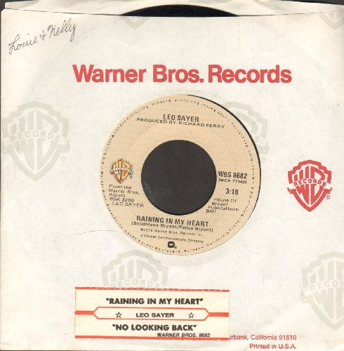 Sayer, Leo - Rainging In My Heart/No Looking Back (with juke box label and Warner Brothers company sleeve) - NM9/ - 45 rpm Records