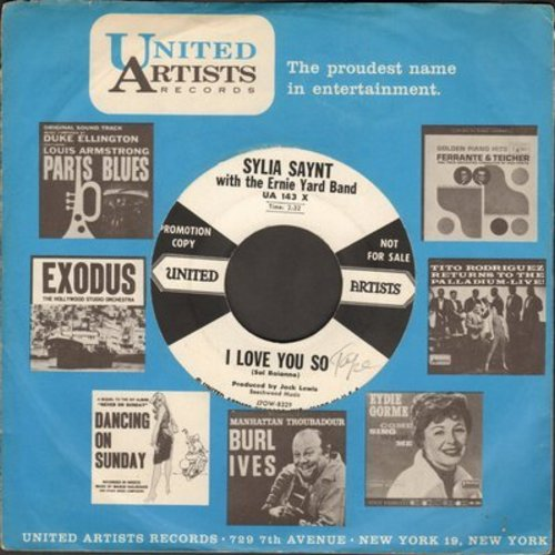 Saynt, Sylvia - I Love You So/Whispering Grass (DJ advance pressing with vintage United Artists company sleeve) - NM9/ - 45 rpm Records