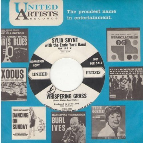 Daynt, Sylvia with the Ernie Yard Band - Whispering Grass/I Love You So (DJ advance pressing with United Artists company sleeve) - NM9/ - 45 rpm Records