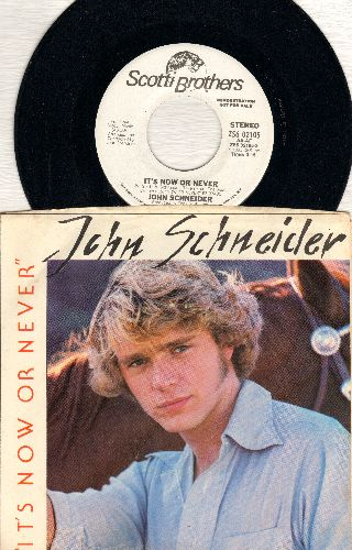 Schneider, John - It's Now Or Never (VERY PLEASANT update of the Elvis Classic, double-A-sided DJ pressing with picture sleeve and juke box label) - NM9/EX8 - 45 rpm Records