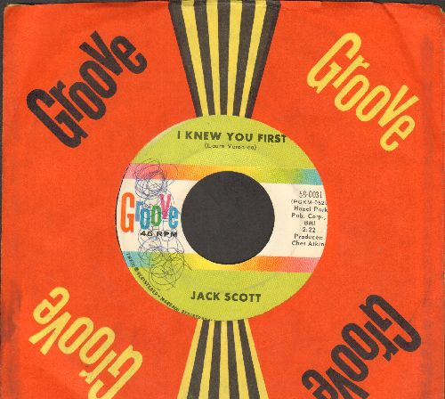 Scott, Jack - Blue Skies (Moving In On Me)/I Knew You First (RARE vintage Rock-A-Billy 2-sider with Groove company sleeve)(minor wol) - EX8/ - 45 rpm Records