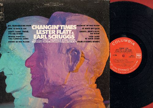 Flatt & Scruggs - Changin' Times: Mr. Tambourine Man, Blowin' In The Wind, It Ain't Me Babe, This Land Is Your Land, Where Have All The Flowers Gone, Ode To Billy Joe (Vinyl STEREO LP record) - NM9/EX8 - LP Records