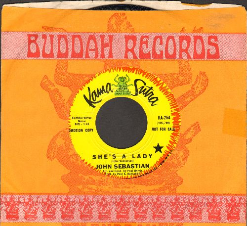 Sebastian, John - She's A Lady/The Room Nobody Lives In (DJ advance pressing with vintage Buddah company sleeve) - NM9/ - 45 rpm Records
