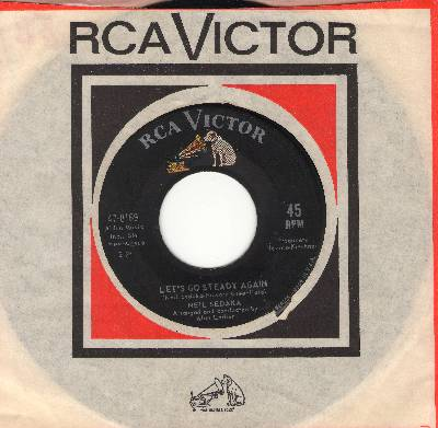 Sedaka, Neil - Let's Go Steady Again/Waiting For Never (La Terza Luna) (with RCA company sleeve) - EX8/ - 45 rpm Records