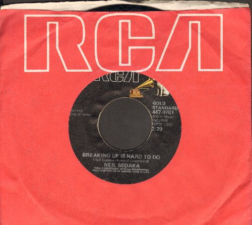 Sedaka, Neil - Breaking Up Is Hard To Do/Next Door To An Angel (double-hit re-issue with RCA company sleeve) - EX8/ - 45 rpm Records