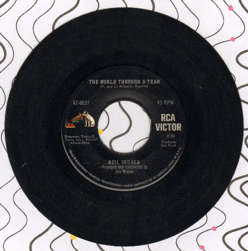 Sedaka, Neil - The World Through A Tear/High On A Mountain (Deep In A Valley) - EX8/ - 45 rpm Records