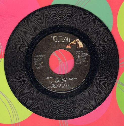 Sedaka, Neil - Happy Birthday, Sweet Sixteen/The Diary (double-hit re-issue) - VG7/ - 45 rpm Records