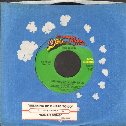 Sedaka, Neil - Breaking Up Is Hard To Do/Nana's Song (with company sleeve and juke box label) - EX8/ - 45 rpm Records