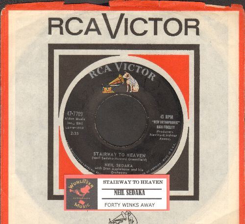 Sedaka, Neil - Stairway To Heaven/Forty Winks Away (with juke box label and RCA company sleeve) - EX8/ - 45 rpm Records