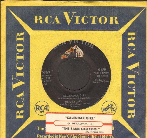 Sedaka, Neil - Calendar Girl/The Same Old Fool (with vintage RCA company sleeve and juke box label) - NM9/ - 45 rpm Records