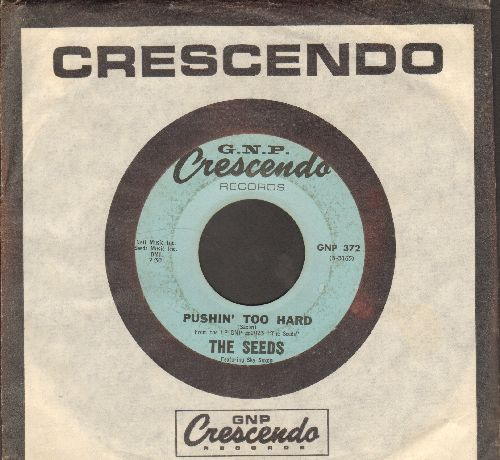 Seeds - Pushin' Too Hard/Try To Understand (with RARE vintage Crescendo company sleeve) - VG7/ - 45 rpm Records