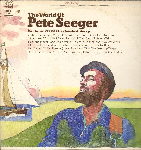 Seeger, Pete - The World Of Pete Seeger - 20 Of His Greatest Songs: We Shall Overcome, Where Have All The Flowers Gone, Both Sides Now, If I Had A Hammer, Gunatanamera (2 vinyl STEREO LP records, gate-fold cover) - EX8/VG7 - LP Records