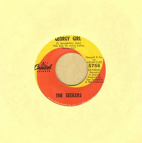 Seekers - Georgy Girl (Hey There Georgy Girl!)/When The Stars Begin To Fall (from film 'Georgy Girl')  - EX8/ - 45 rpm Records