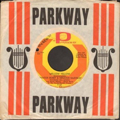 Senator Bobby & Senator McKinley - White Christmas (3 O'Clock Weather Report)/Mellow Yellow (RARE Novelty with Parkway company sleeve) - VG7/ - 45 rpm Records