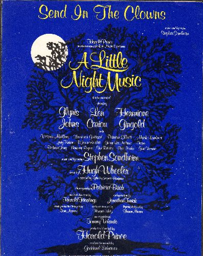 Sondheim, Stephen - Send In The Clowns - SHEET MUSIC for the Theme from Stephen Sondheim's Broadway Classic -A Little Night Music- - EX8/ - Sheet Music