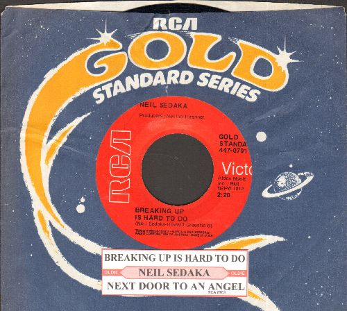 Sedaka, Neil - Breaking Up Is Hard To Do/Next Door To An Angel (double-hit re-issue with juke box label and RCA company sleeve) - NM9/ - 45 rpm Records