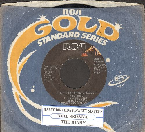 Sedaka, Neil - Happy Birthday, Sweet Sixteen/The Diary (double-hit re-issue with RCA company sleeve and juke box label) - NM9/ - 45 rpm Records