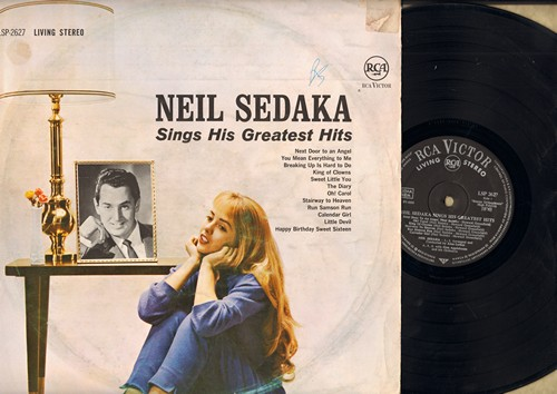 Sedaka, Neil - Sings His Greatest Hits: Next Door To An Angel, Breaking Up Is Hard To Do, Oh Carol, Stairway To Heaven, Calendar Girl, Little Devil (Vinyl STEREO LP record, GERMAN Pressing) - EX8/VG7 - LP Records