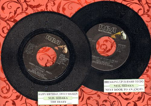 Sedaka, Neil - 2 double-hit re-issue 45s with juke box labels for the price of 1. Hits include Hahhy Birthday Sweet Sixteen/The Diary/Breaking Up Is Hards To Do/Next Door To An Angel. - EX8/ - 45 rpm Records