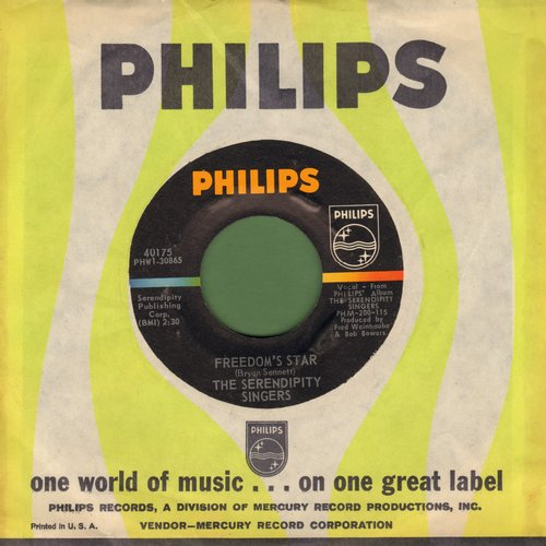 Serendipity Singers - Freedom's Star/Crooked Little Man (original first issue with Philips company sleeve) - NM9/ - 45 rpm Records