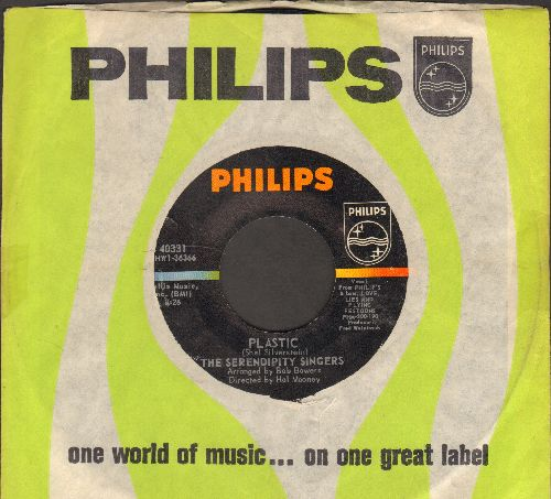 Serendipity Singers - Plastic (FANTASTIC novelty song!)/When Peaches Grow On Lilac Trees (with Philips company sleeve) - NM9/ - 45 rpm Records