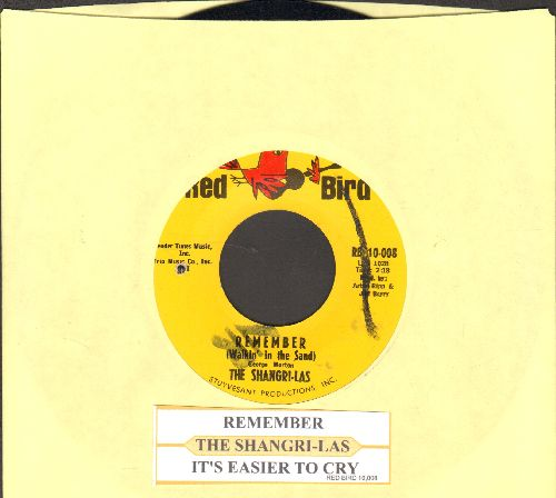 Shangri-Las - Remember (Walkin' In The Sand)/It's Easier To Cry (with juke box label) (bb, minor wol) - NM9/ - 45 rpm Records