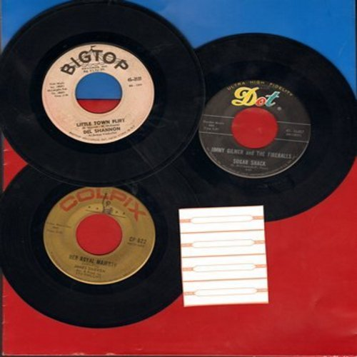 Gilmer, Jimmy & The Fireballs, Del Shannon, James Darren - Teen Idol 3-Pack: First pressing 45s, including Sugar Shack, Her Royal Majesty and Little Town Flirt. Shipped with plain paper sleeves, with 4 blank juke box labels. GREAT for a juke box! - VG7/ -
