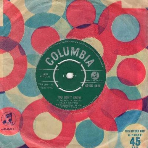 Shapiro, Helen - You Don't Know/Marvelous Lie (British Pressing with vintage Columbia company sleeve, with removable spindle adapter) - EX8/ - 45 rpm Records