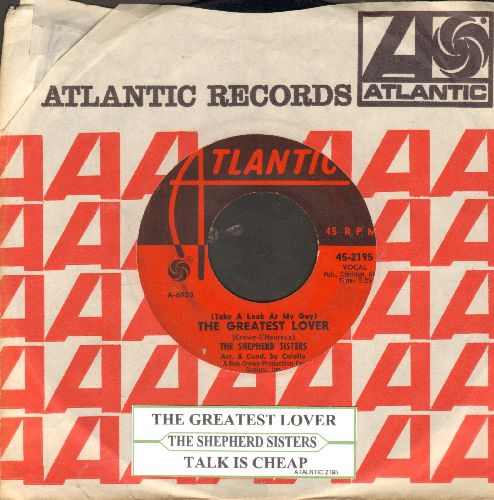 Shepherd Sisters - The Greatest Lover/Talk Is Cheap (with juke box label and Atlantic company sleeve) - VG7/ - 45 rpm Records