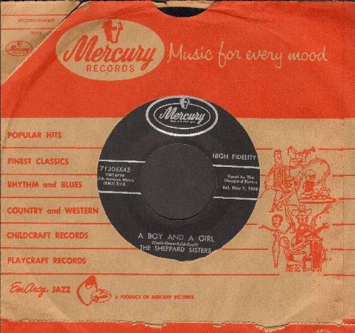 Sheppard Sisters - A Boy And A Girl/Eatin' Pizza (with Mercury company sleeve) - EX8/ - 45 rpm Records