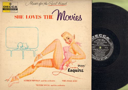 Newman, Alfred & His Orchestra - She Loves The Movies: Love Theme From The Robe, The Girl Upstairs, The High And The Mighty, Ruby, Anna (vinyl MONO LP record, 1956 first pressing) - EX8/EX8 - LP Records