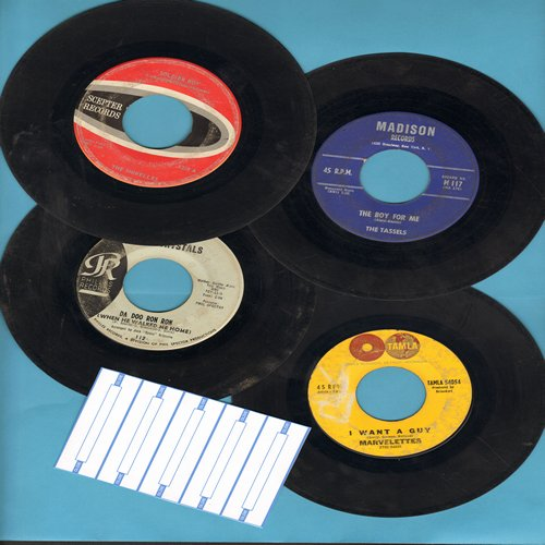 Tassels, Marvelettes, Shirelles,Crystals - Vintage Girl-Groups 4-Pack: First issue 45rpm records in very good or better condition with blank juke box labels. Hit titles include The Boy For Me, Twistin' Postman,Soldier Boy and Da Doo Ron Ron. Great for a j