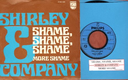Shirley & Company - Shame, Shame, Shame (Shame On You, If You Can't Dance Too)/ More Shame (Dutch Pressing with juke box label and picture sleeve) - NM9/NM9 - 45 rpm Records