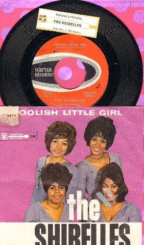 Shirelles - Foolish Little Girl/Not For All The Money In The World (Overlooked FANTASTIC flip-side! - with picture sleeve and juke box label)(bb, sos) - NM9/VG7 - 45 rpm Records