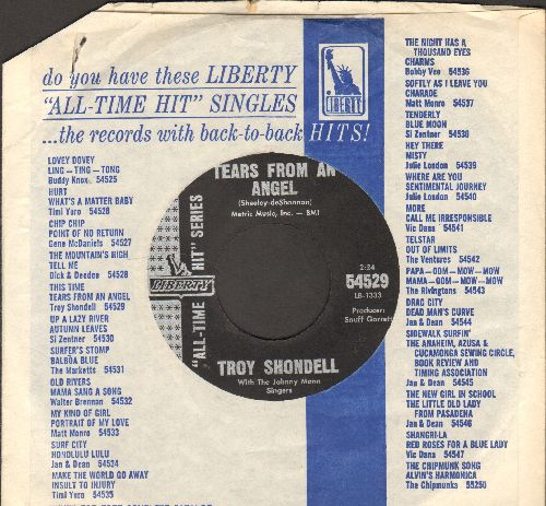 Shondell, Troy - Tears From An Angel/This Time (double-hit re-issue with company sleeve) - VG7/ - 45 rpm Records