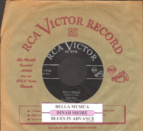 Shore, Dinah - Bella Musica/Blues In Advance (with juke box label and vintage RCA company sleeve) - NM9/ - 45 rpm Records