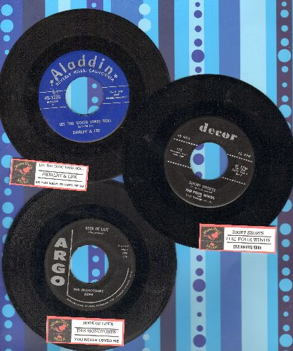 Four Winds, Monotones, Shirley & Lee - Vintage Rock & Roll 3-Pack: First Pressings include hits Book Of Love, Short Shorts and Let The Good Times Roll. Shipped with juke box labels in plain paper sleeves. GREAT for a juke box! - EX8/ - 45 rpm Records