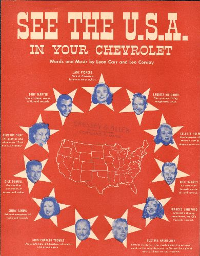 Shore, Dinah - See The U.S.A In Your Chevrolet - Vintage SHEET MUSIC for Dinah Shore's Signature Song/Chevrolet Ad Campaign. - NM9/ - Sheet Music