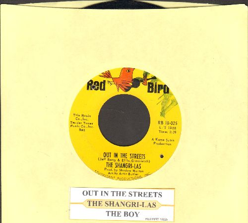 Shangri-Las - Out In The Streets/The Boy (with juke box label) (bb, minor wol) - NM9/ - 45 rpm Records