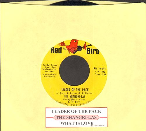 Shangri-Las - Leader Of The Pack/What Is Love (FANTASTIC over-looked flip-side!)  (with juke box label) - NM9/ - 45 rpm Records