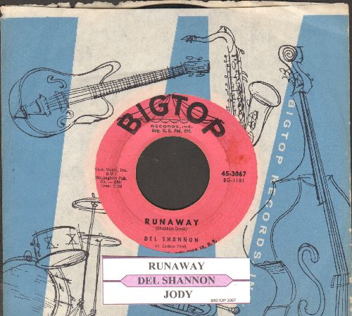 Shannon, Del - Runaway (first recorded song ever to use a synthesizer for sound effects!)/Jody (pink label first issue with juke box label and vintage company sleeve) - EX8/ - 45 rpm Records