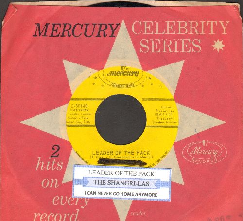 Shangri-Las - Leader Of The Pack/I Can Never Go Home Anymore (double-hit re-issue with juke box label and Mercury company sleeve) (wol) - EX8/ - 45 rpm Records