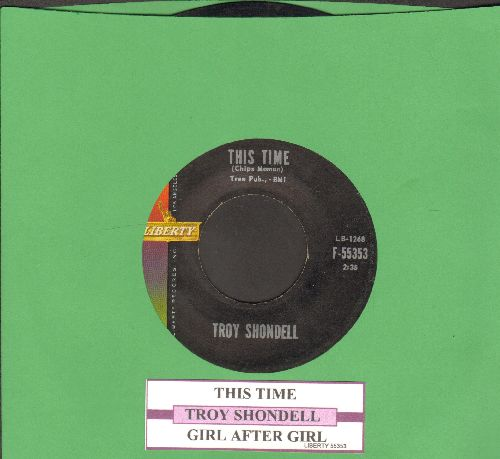 Shondell, Troy - This Time/Girl After Girl (with juke box label) - EX8/ - 45 rpm Records