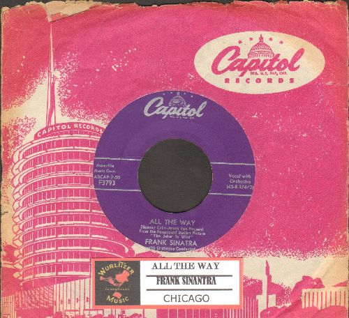 Sinatra, Frank - All The Way/Chicago (purple label first issue with vintage Capitol company sleeve and juke box label) - Ex8/ - 45 rpm Records