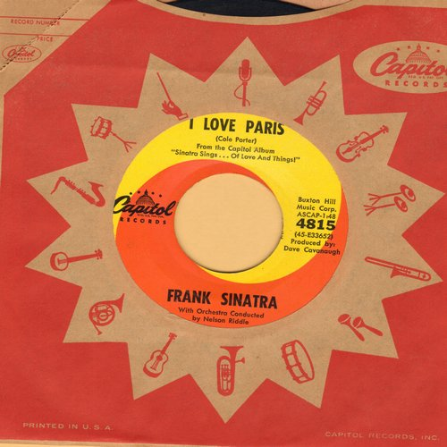 Sinatra, Frank - I Love Paris/Hidden Persuasion (with Capitol company sleeve) - NM9/ - 45 rpm Records