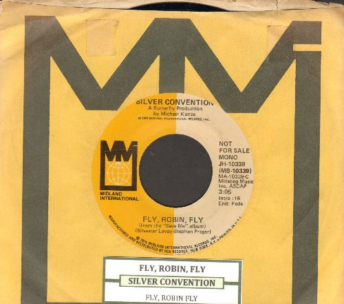 Silver Convention - Fly, Robin, Fly (this #1 world hit officially ushered-in the DISCO ERA, RARE double-A-sided DJ advasnce pressing with MONO and STEREO version, with company sleeve and juke box label) - NM9/ - 45 rpm Records