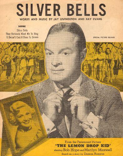 Hope, Bob - Silver Bells - Vintage SHEET MUSIC, NICE cover portrait of Bob Hope! - EX8/ - Sheet Music