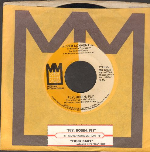 Silver Convention - Fly, Robin, Fly (this #1 world hit officially ushered-in the DISCO ERA)/Tiger Baby (with Midland company sleeve and juke box label) - NM9/ - 45 rpm Records